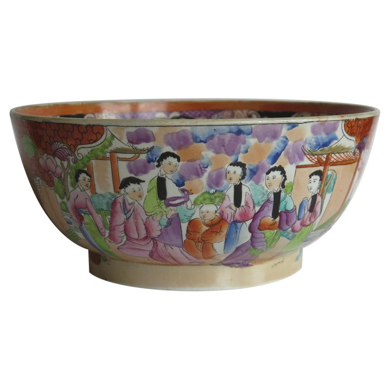 Georgian Mason's Ironstone Large Bowl in Red Scale People Pattern, Circa 1815 For Sale