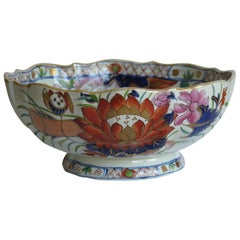 Georgian Mason's Ironstone Large Bowl in Water Lily Pattern Old Stapled Repair