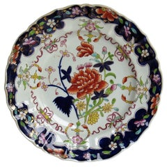 Georgian Mason's Ironstone Large Dinner Plate Red Peony and Scrolls Ptn, Ca 1818