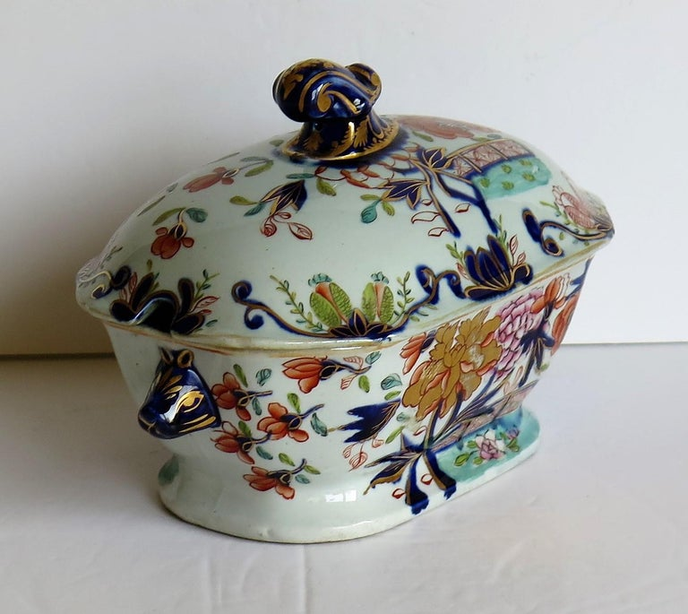 Georgian Mason's Ironstone Sauce Tureen and Cover Gilded Rose Japan Pattern For Sale 3