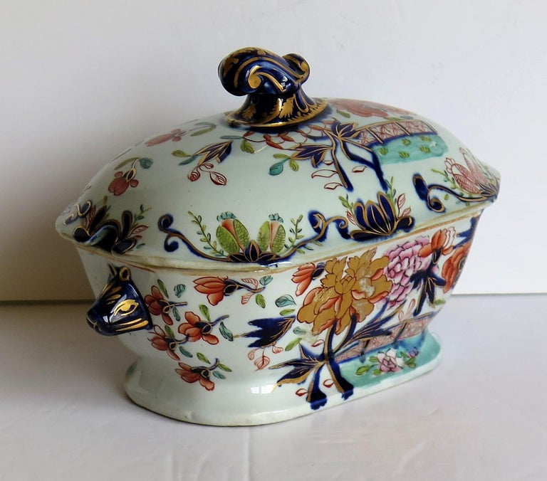 Georgian Mason's Ironstone Sauce Tureen and Cover Gilded Rose Japan Pattern For Sale 4