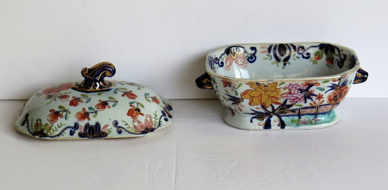 Georgian Mason's Ironstone Sauce Tureen and Cover Gilded Rose Japan Pattern For Sale 5