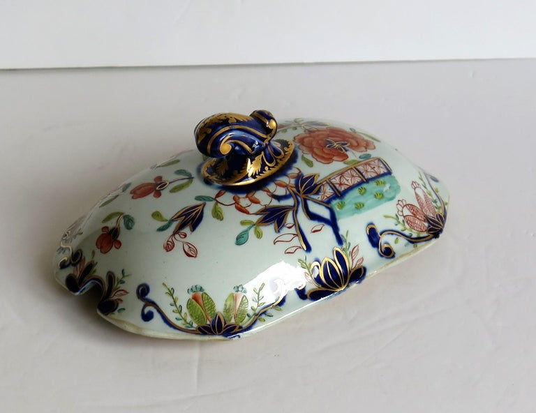Georgian Mason's Ironstone Sauce Tureen and Cover Gilded Rose Japan Pattern For Sale 6