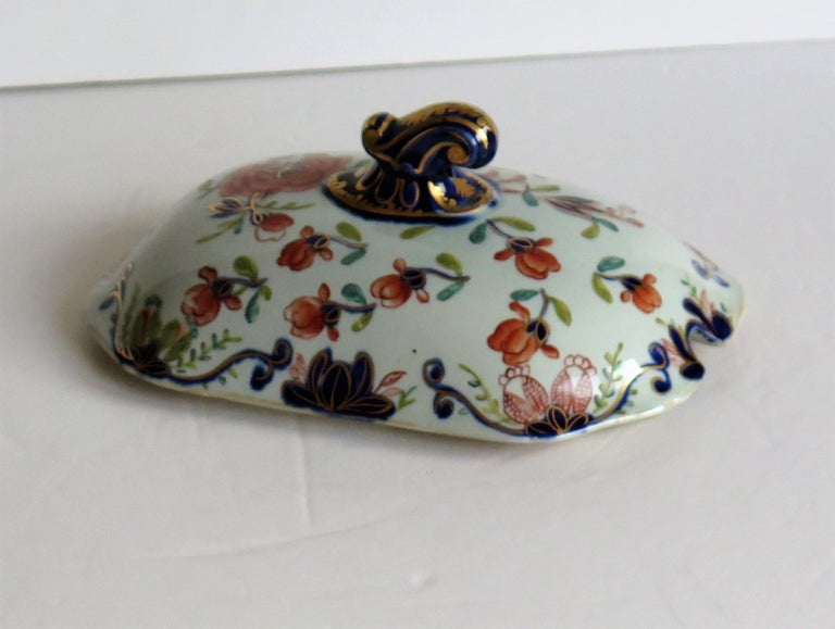Georgian Mason's Ironstone Sauce Tureen and Cover Gilded Rose Japan Pattern For Sale 7