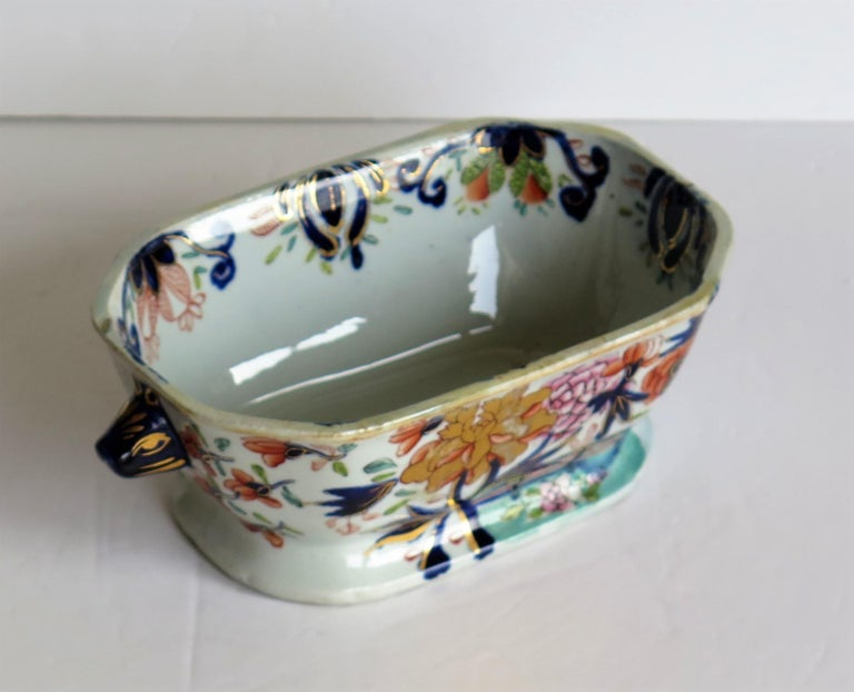 Georgian Mason's Ironstone Sauce Tureen and Cover Gilded Rose Japan Pattern For Sale 8