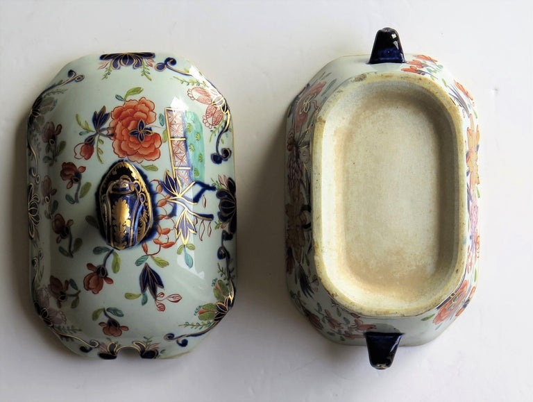 Georgian Mason's Ironstone Sauce Tureen and Cover Gilded Rose Japan Pattern For Sale 9