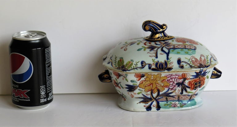 Georgian Mason's Ironstone Sauce Tureen and Cover Gilded Rose Japan Pattern For Sale 13