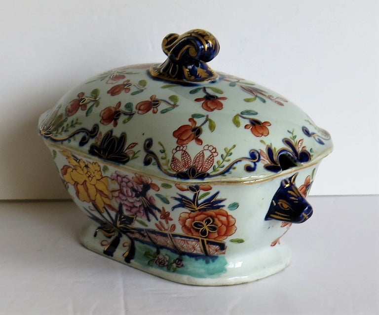 English Georgian Mason's Ironstone Sauce Tureen and Cover Gilded Rose Japan Pattern For Sale