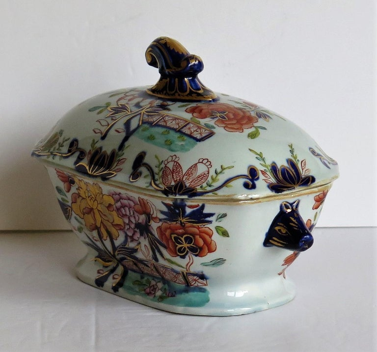 19th Century Georgian Mason's Ironstone Sauce Tureen and Cover Gilded Rose Japan Pattern For Sale
