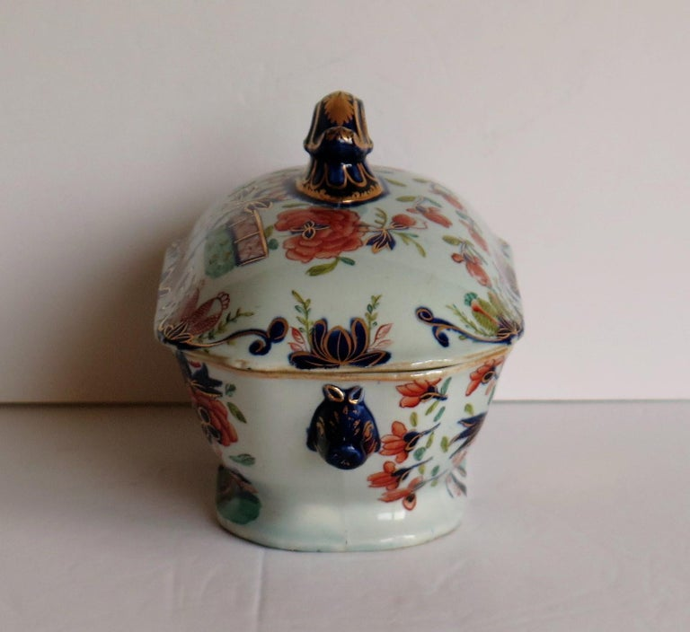 Georgian Mason's Ironstone Sauce Tureen and Cover Gilded Rose Japan Pattern For Sale 1