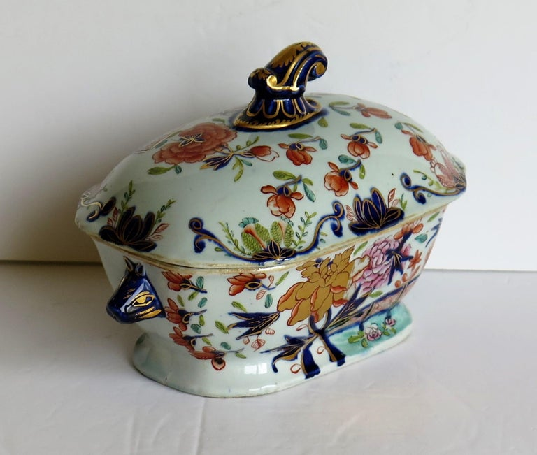 Georgian Mason's Ironstone Sauce Tureen and Cover Gilded Rose Japan Pattern For Sale 2