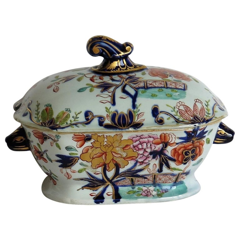 Georgian Mason's Ironstone Sauce Tureen and Cover Gilded Rose Japan Pattern For Sale
