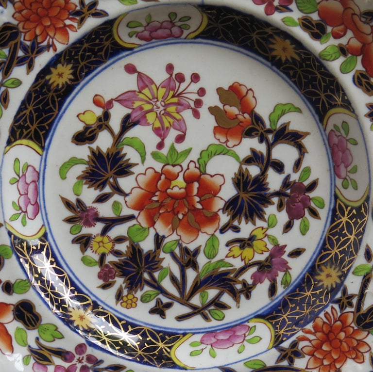 English Georgian Mason's Ironstone Side Plate in Heavily Floral Japan Ptn, Circa 1815 For Sale