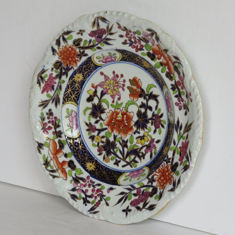 Hand-Painted Georgian Mason's Ironstone Side Plate in Heavily Floral Japan Ptn, Circa 1815 For Sale