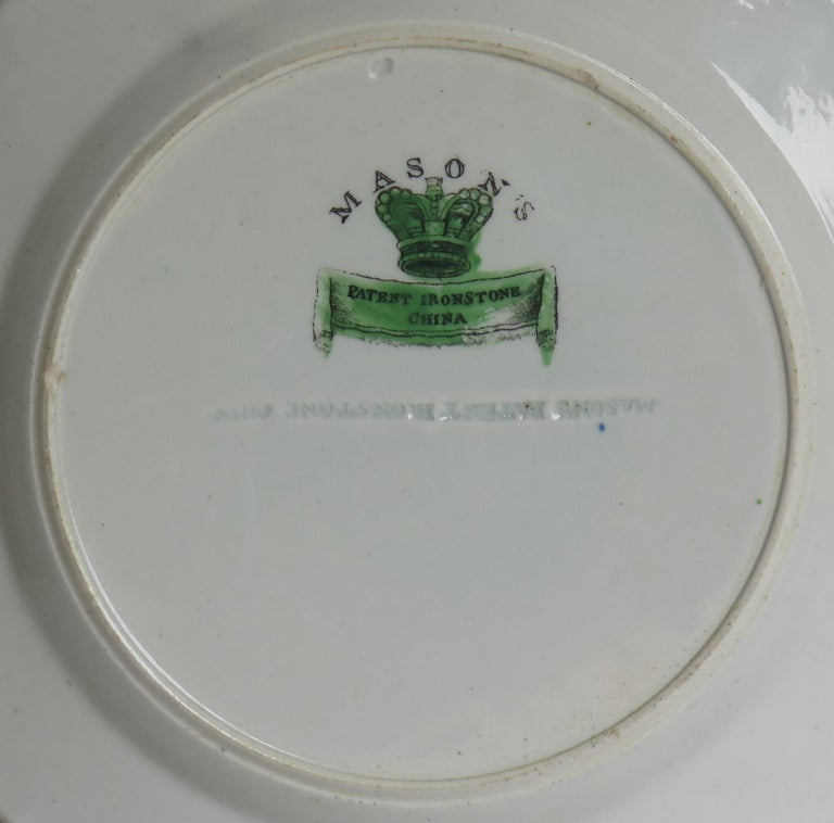Georgian Mason's Ironstone Side Plate in Table and Flower Pot Pattern, Ca 1818 For Sale 6