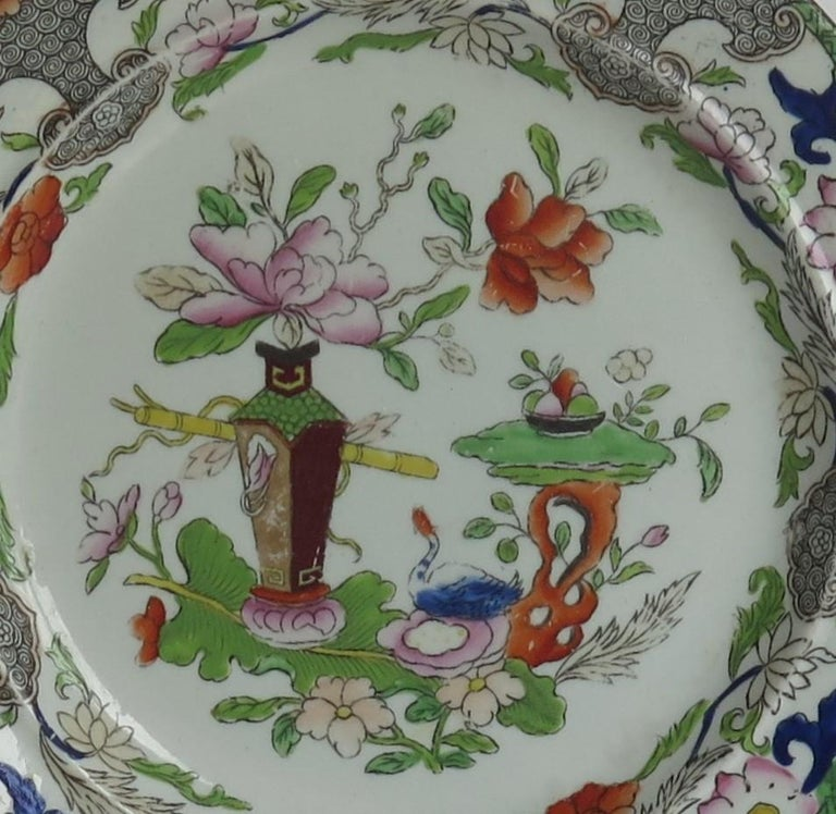 Georgian Mason's Ironstone Side Plate in Table and Flower Pot Pattern, Ca 1818 For Sale 2