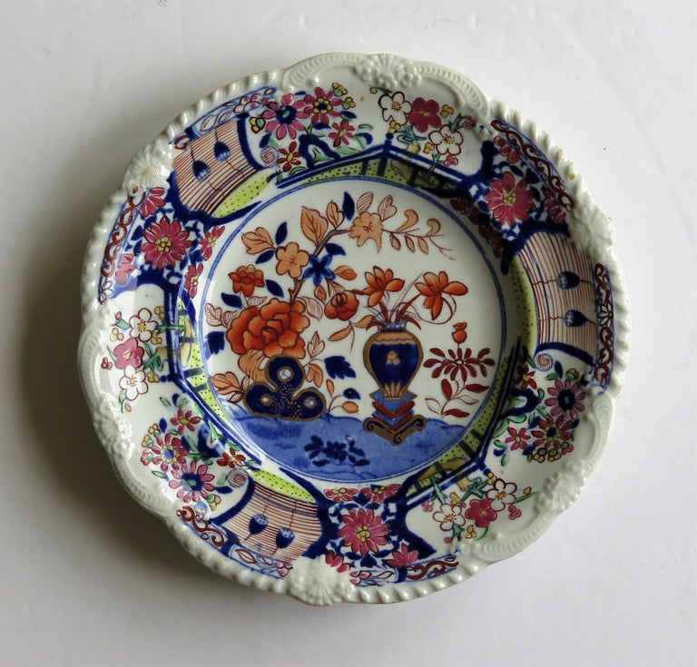 English Georgian Mason's Ironstone Side Plate in Vase & Rock gilded pattern, circa 1815 For Sale