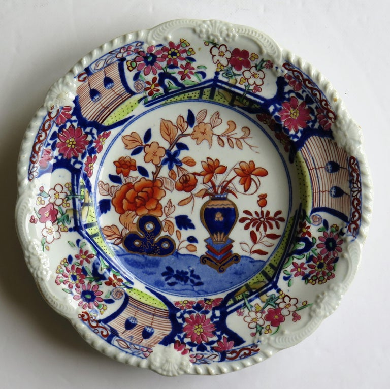 Hand-Painted Georgian Mason's Ironstone Side Plate in Vase & Rock gilded pattern, circa 1815 For Sale