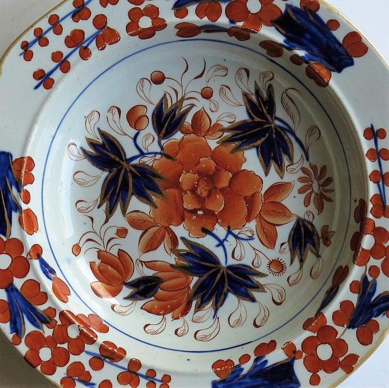 Georgian Mason's Ironstone Soup Bowl or Plate in Rare Rose Japan Ptn, circa 1815 4