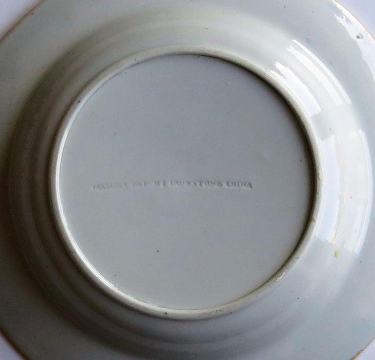 Georgian Mason's Ironstone Soup Bowl or Plate in Rare Rose Japan Ptn, circa 1815 9