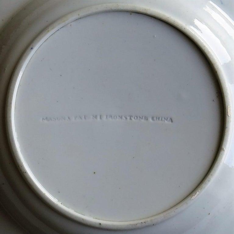 Georgian Mason's Ironstone Soup Bowl or Plate in Rare Rose Japan Ptn, circa 1815 10