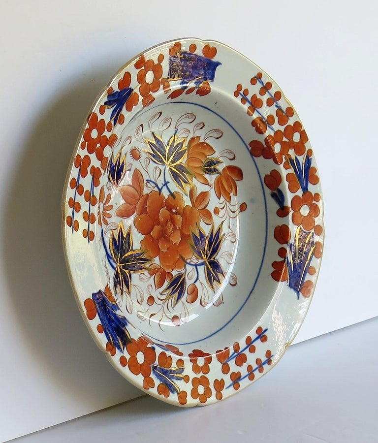 This is a very good early Mason's ironstone pottery soup bowl or deep plate hand painted in the striking Rose Japan pattern, which is one of the rarer seen patterns produced by the Mason's factory at Lane Delph, Staffordshire, England, circa