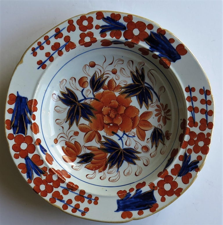 Georgian Mason's Ironstone Soup Bowl or Plate in Rare Rose Japan Ptn, circa 1815 In Good Condition In Lincoln, Lincolnshire