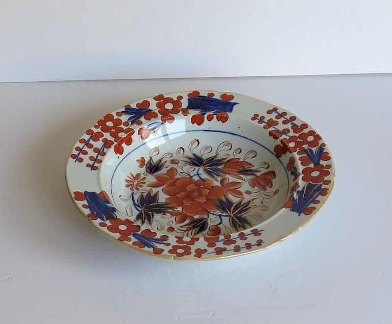 19th Century Georgian Mason's Ironstone Soup Bowl or Plate in Rare Rose Japan Ptn, circa 1815