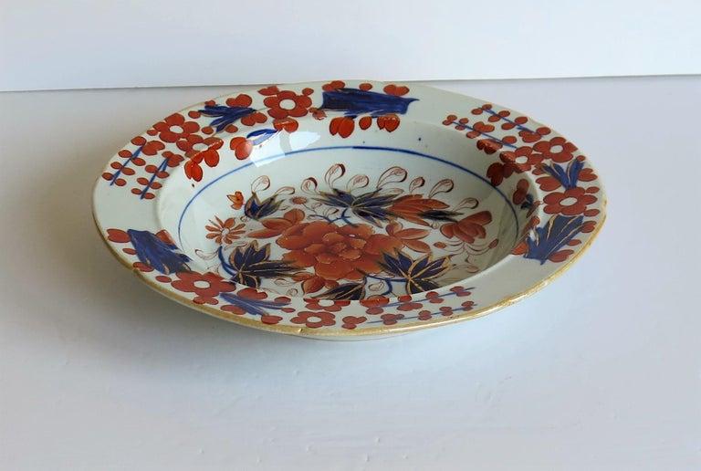 Georgian Mason's Ironstone Soup Bowl or Plate in Rare Rose Japan Ptn, circa 1815 1