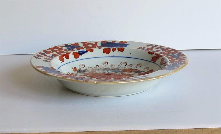 Georgian Mason's Ironstone Soup Bowl or Plate in Rare Rose Japan Ptn, circa 1815 2