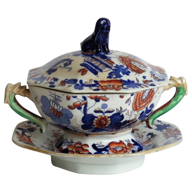 Georgian Mason's Ironstone Tureen and Lid and Stand Japan Basket Pattern, C 1820 For Sale