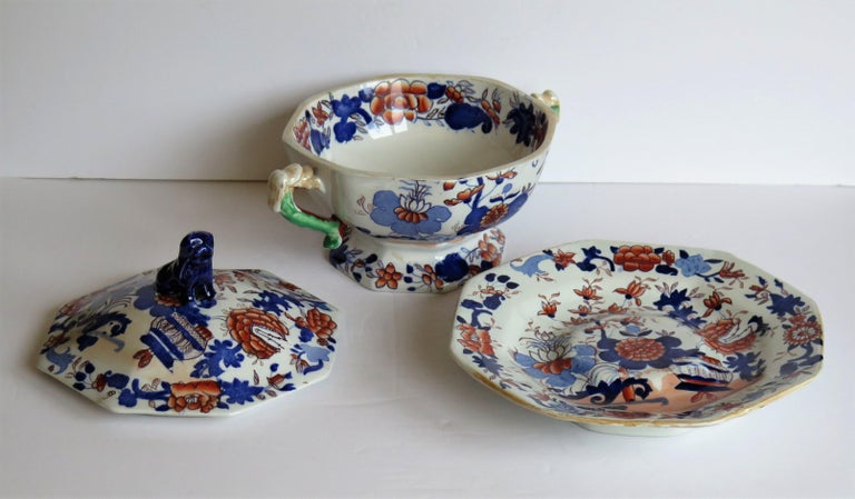 Georgian Mason's Ironstone Tureen and Lid and Stand Japan Basket Pattern, C 1820 For Sale 3