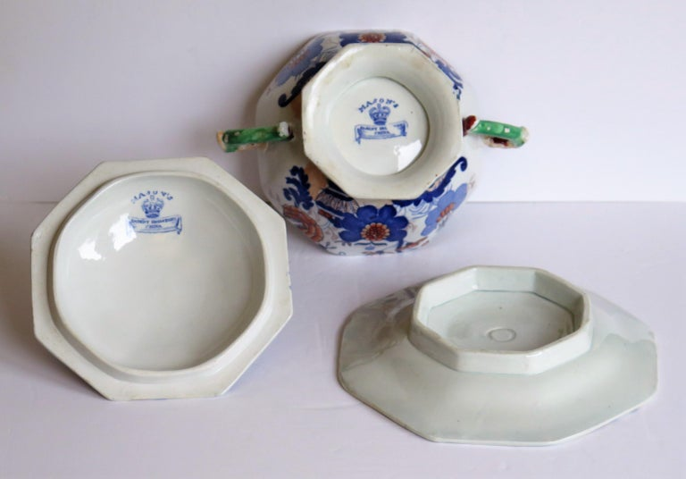 Georgian Mason's Ironstone Tureen and Lid and Stand Japan Basket Pattern, C 1820 For Sale 11