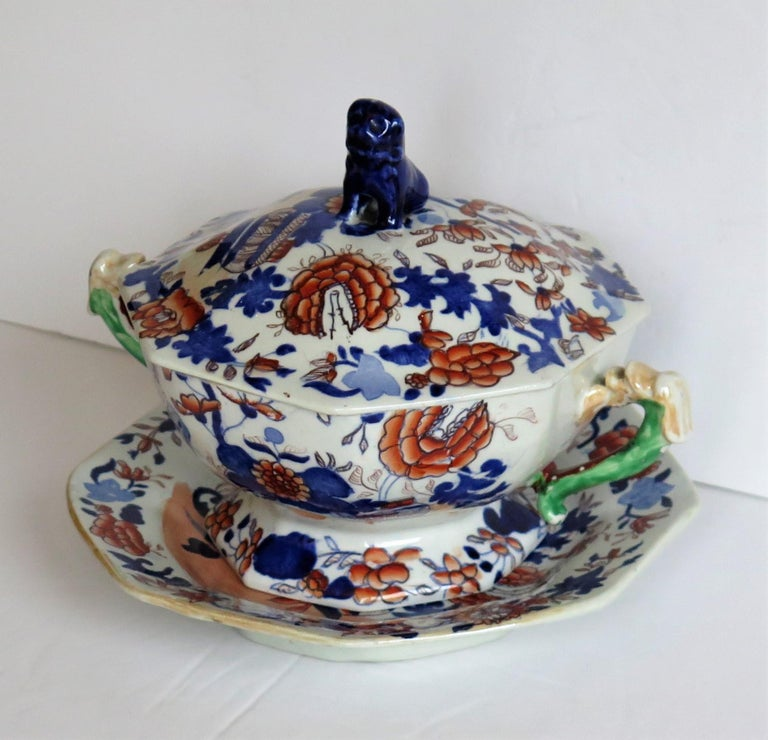 This is a very good ironstone tureen, complete with lid and base stand or plate, all in the Basket Japan pattern and made by Mason's of Lane Delph, Staffordshire, England, during the early part of the 19th century, circa 1820.  All pieces are well