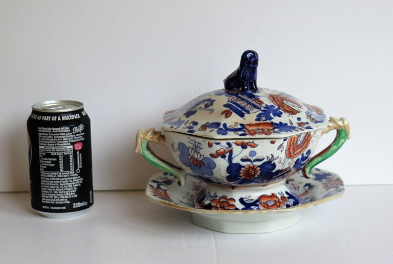 Georgian Mason's Ironstone Tureen and Lid and Stand Japan Basket Pattern, C 1820 For Sale 13