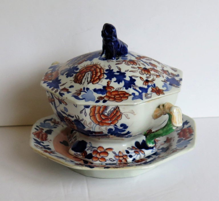 Georgian Mason's Ironstone Tureen and Lid and Stand Japan Basket Pattern, C 1820 In Good Condition For Sale In Lincoln, Lincolnshire