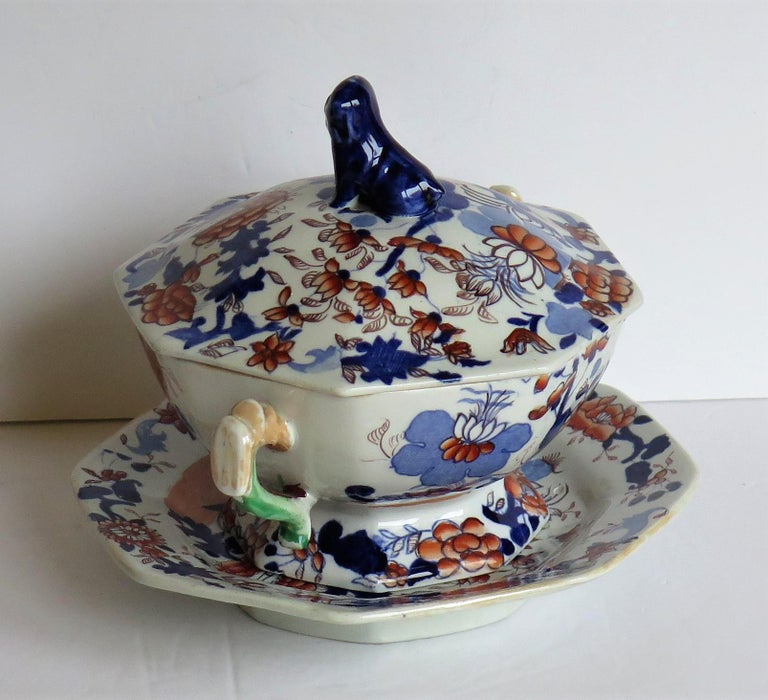 19th Century Georgian Mason's Ironstone Tureen and Lid and Stand Japan Basket Pattern, C 1820 For Sale