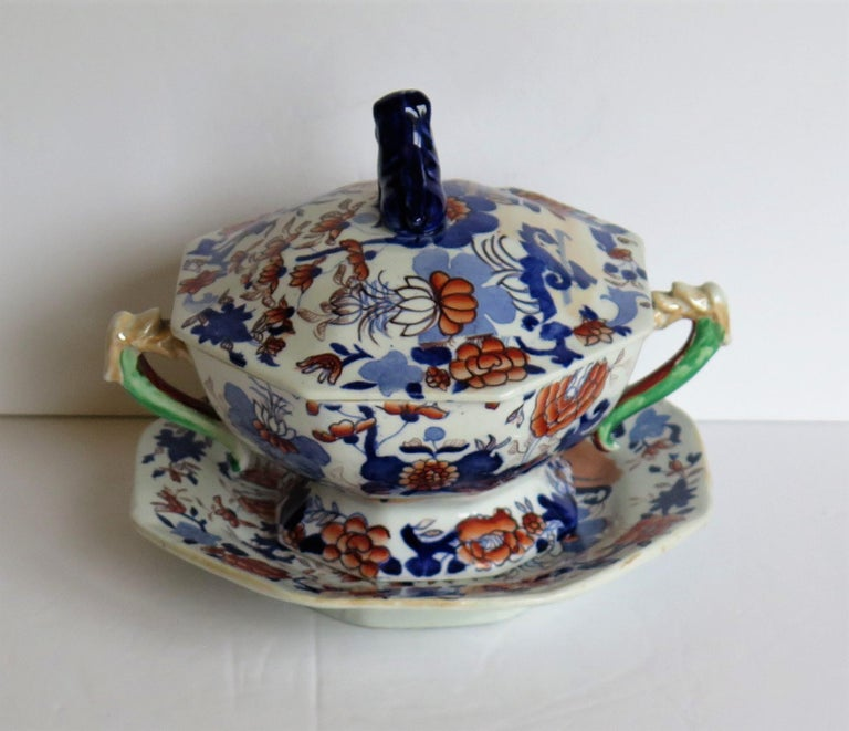 Georgian Mason's Ironstone Tureen and Lid and Stand Japan Basket Pattern, C 1820 For Sale 1