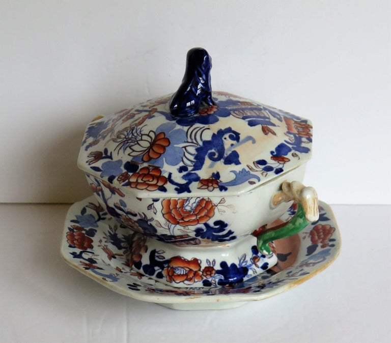 Georgian Mason's Ironstone Tureen and Lid and Stand Japan Basket Pattern, C 1820 For Sale 2