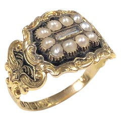 Georgian Memorial Memento Gold and Gem Set Ring