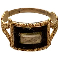 Georgian Memorial Mourning Ring, Seed Pearls, Black Enamel, 14 Karat Rose Gold