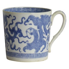 Georgian Miles Mason Coffee Can Porcelain in Blue Chinese Dragon Ptn, circa 1810