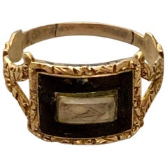 Georgian Memorial Mourning Ring; Seed Pearls, Black Enamel, 14 Karat Rose Gold