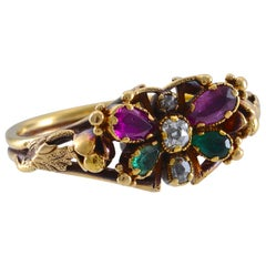 Georgian Multicolored Stone and Gold Butterfly Ring