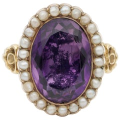 Georgian Natural Amethyst Natural Pearl Rare Ring
