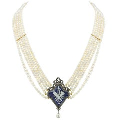 Georgian Natural Pearl Necklace with Blue Enamel Centre
