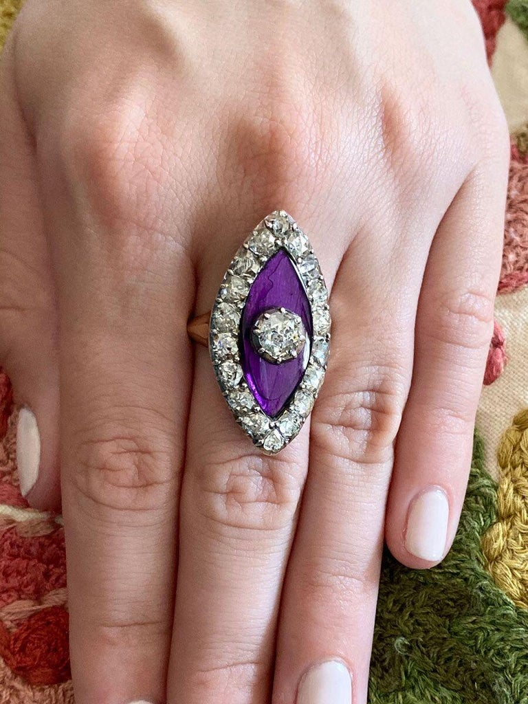 Georgian Navette Purple Glass and Rose Cut Diamond Cocktail Dress Ring For Sale 6