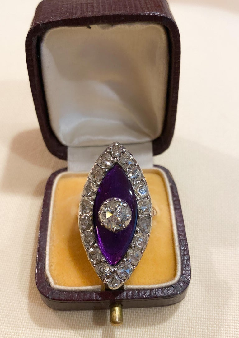 Georgian Navette Purple Glass and Rose Cut Diamond Cocktail Dress Ring For Sale 7
