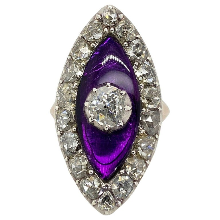 Women's Georgian Navette Purple Glass and Rose Cut Diamond Cocktail Dress Ring For Sale