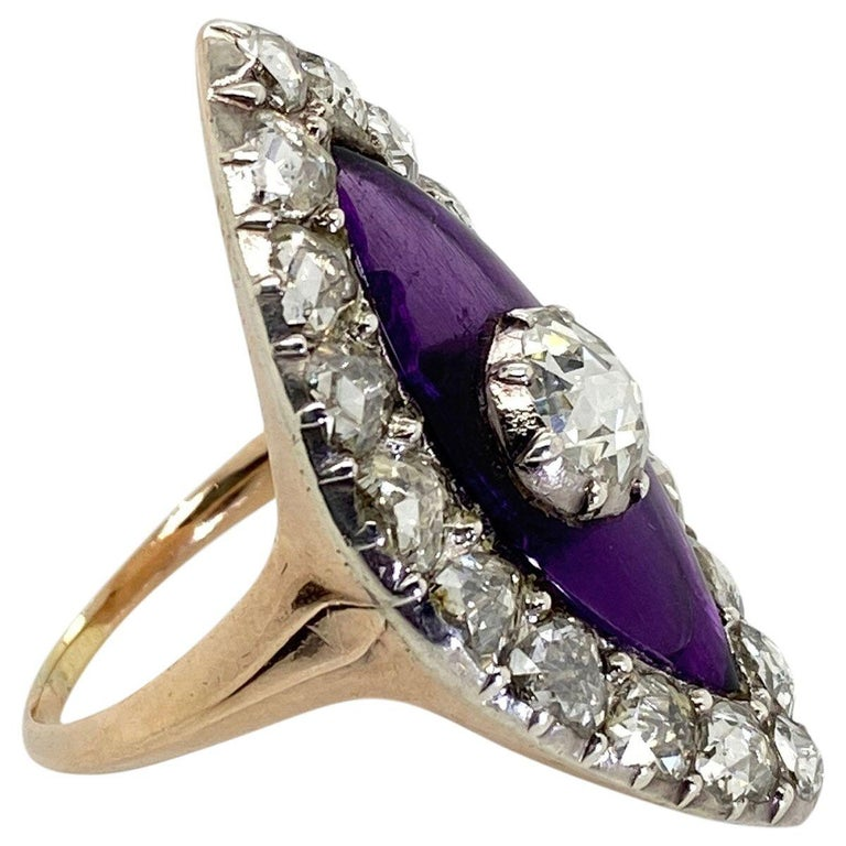 Georgian Navette Purple Glass and Rose Cut Diamond Cocktail Dress Ring For Sale 1